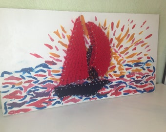 String Art Ship 3D in Red Colors with Rainbow Sea