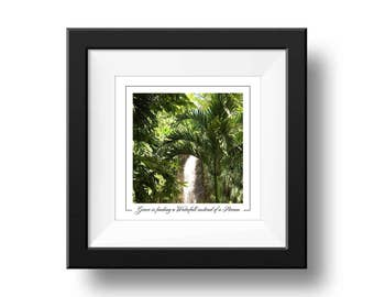 Rainforest Waterfall Print, Waterfall Quote Photography, Square Wall Art