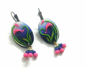 Blue polymer clay earrings