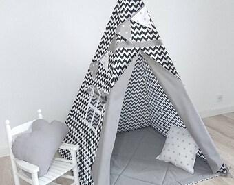 Teepee Set, Kids Teepee, Indian Teepee, Childrens Teepee, Teepee tent, Playtent, Teepee, Tipi zelt, wigwam with mat, Zigzag black&white