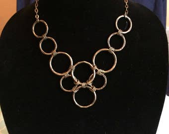 Antique brass layered hoop necklace