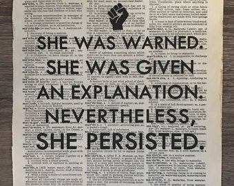 Dictionary Print: Nevertheless, she persisted