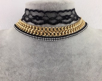 3pc Choker Set, Black Lace, Chain, Vintage Velvet Necklace