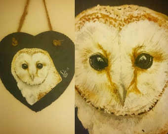 Hand painted slate wall hanging - Owl