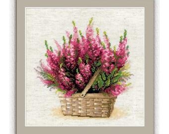 Counted Cross Stitch Kit - Scottish heather (Riolis) - Floral cross stitch pattern - Basket of flowers cross stitch - Needlepoint kit