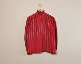 Striped Secretary Blouse, Vintage 70s Blouse, 1970s Ruffle Collar Top, Red Blouse, Long Sleeve Button Up, Loose Blouse, Romantic Blouse