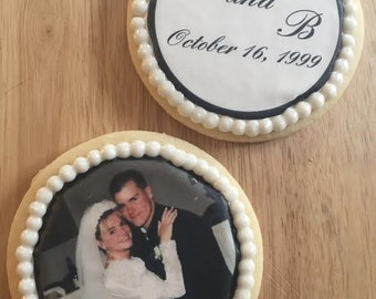 1 Dozen Customizable Anniversary Photo Cookies