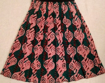 African Print Skirt with a  touch of green and Burgundy