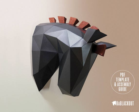 Animal Head Papercraft Horse Wall Low Poly Paper Model Trojan
