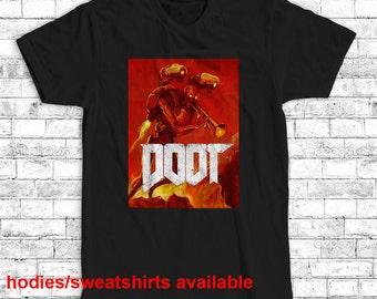 doom shirt doot t-shirt gamer tshirt t shirt men's women's birthday present gift S M L XL XXL black white gray red blue yellow