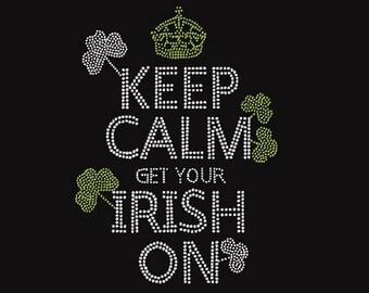 Irish Keep Calm Rhinestone Iron on Transfer                 MJ0O