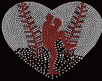 Rhinestone  Faded Baseball Heart  Lightweight T-Shirt    or  DIY Iron On Transfer                        7Q3A