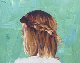braided hair oil painting