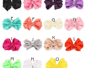 15colors 11cm Hair Clips Newborn High Elastic Knit Hair Bows Clips Handmade Solid Flower Bow for Baby Girls Hair Accessories