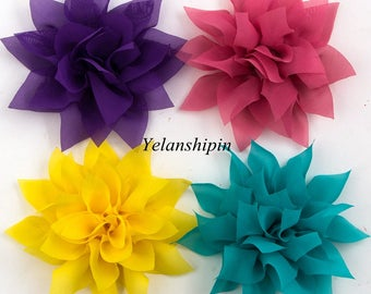 "4.4"" 14colors Tulle Lotus Chiffon Flower For Baby Girls Hair Clips Accessories Chic Artificial Fabric Flowers For Headbands"