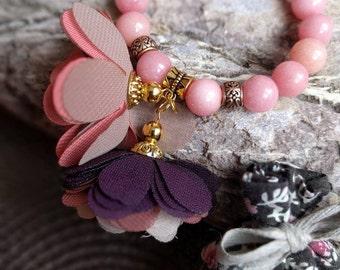 Jade bracelet with flowers, lavender sachet - gift