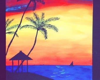 Beach at Sunset Painting
