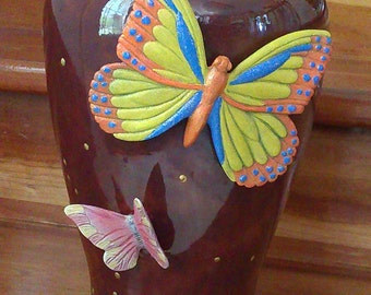 Burgundy with butterfly vase