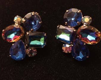 Gorgeous Vintage Rainbow Rhinestone Climber Earrings