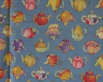 "Fabric vintage ""Tea - Pots"" - Concord Fabrics - by Sharon Kessler - style Portuguese Slushes - long 185 cm - wide 114 cm-never used"