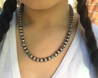 Handmade Navajo Silver Pearl With Jade Necklace