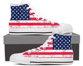 Patriotic American Flag Hi Top Sneakers USA Flag Shoes Red White Blue High Top American Flag Stars Stripes Canvas Gear Thin Red Line Kicks