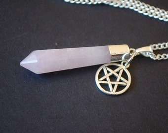 Rose quartz pendulum pentagram necklace