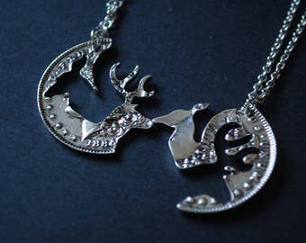 Best friend set of stag necklaces