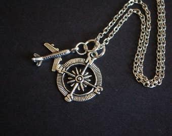 aeroplane compass traveller necklace