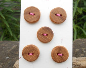 Wooden Buttons/Elm wood buttons/round buttons/set of five thick round wooden buttons/light brown buttons/earthy buttons/sustainable buttons