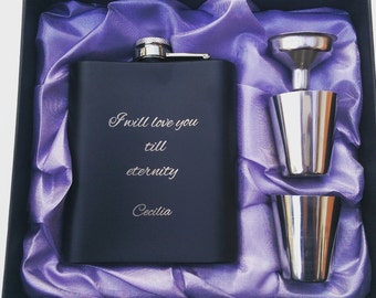 Love For Eternity // Gift for Him // Funny Flask // Hip Flask for Men // 21st Birthday Gift // 7 oz