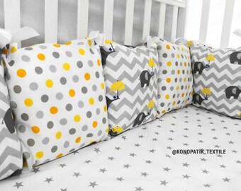 YELLOW GRAY baby bedding, crib bedding, baby bedding boy, baby bedding girl, crib bumper, pillow bumper, crib sheet, bumper