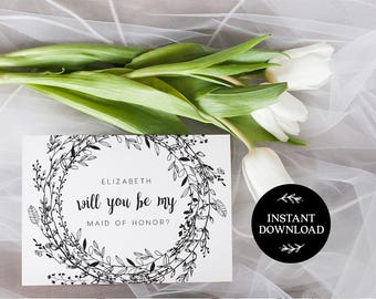 Will You Be My Bridesmaid Printable Card, INSTANT DOWNLOAD DIY Ask to be Bridesmaid, Maid of Honor, Flower Girl, pdf editable Audrey