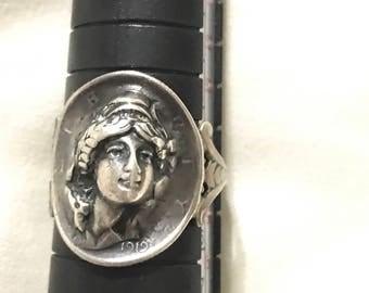 Art Nouveau 1919 Coin Ring/3D style ring/Art Nouveau Goddess Ring/Unique Statement Ring