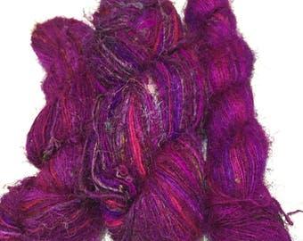 Recycled Sari Silk Yarn - Magenta (100 Grams)