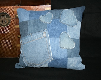 Checkered denim pillow with heart and Pocket