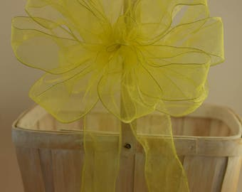Yellow Bow, Organza Bow, Easter Bow, Baby Shower Bow, Shower Bow, Wreath Bow, Basket Bow, Decorative Bow, Spring Bow, Gift Bow