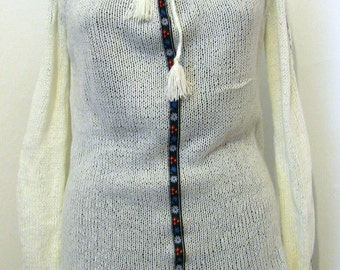 Hand knitted cardigan ivory