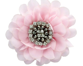 Chiffon Jewelled Hair Flower Clip - Light Pink
