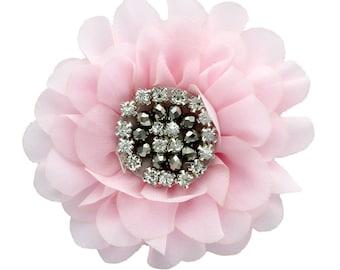 Chiffon Jewelled Hair Flower Clip - Light Pink
