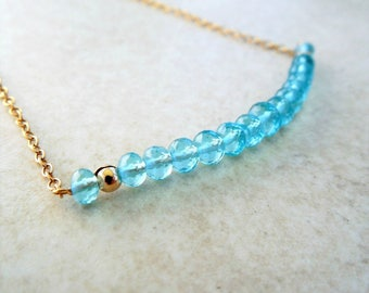 Caribbean Blue Apatite Bar Necklace | Dainty Apatite Gemstone Necklace | Apatite Jewelry | Her Unique Jewelry Gift | Gemstone Jewelry Gifts
