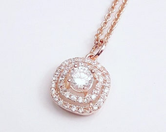 Bridal necklace pendant CZ, Rose gold, wedding cubic zirconia necklace, Crystal jewelry, Square pendant, Bridal necklace, BJ010