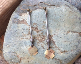 Industrial Brass Medium X Mixed Metal Dangle Earrings Handmade