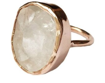 Raw Quartz ring - Rough Quartz ring - Quartz ring - Rough Crystal ring - Rose Gold ring