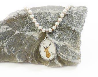 Pearl deer pendant necklace