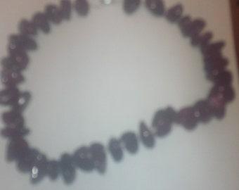 Hand strung Burgundy Stone Necklace