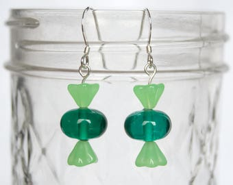 Green lampwork glass candy earrings Teal and lime wrapped candy drop earrings Green candy dangle earrings Sterling silver green Gift for her
