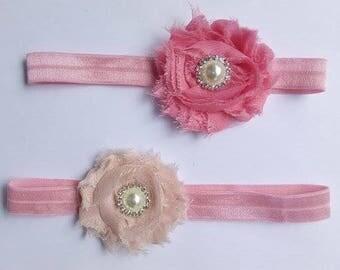 Newborn headband. Baby headband. Baby girl headband. Toddler headband. Shabby flower headband. Vintage headband. Shabby pink, Pink headband