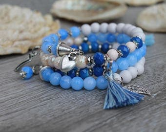 Blue Ocean bracelet summer vacation Beach Sun Blau Greece style HAND MADE UliAjewelry