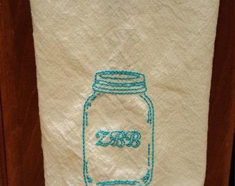 Retro Kitchen Towel- Hand Embroidered ZBB Mason Jar